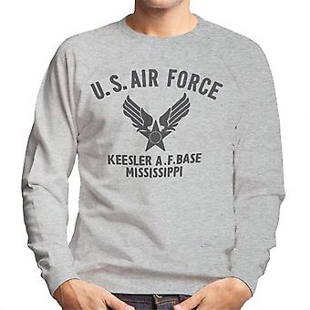 US Airforce Keesler AF Base Mississippi Black Text Men's Sweatshirt