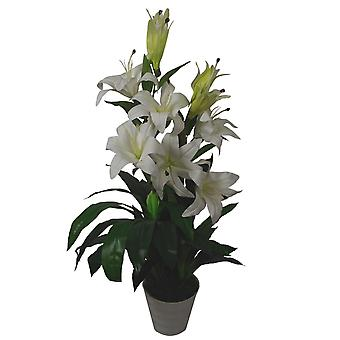 90cm (3ft) Artificial Lilies Stargazer Style Lily Plant Large Flowers White