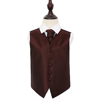Burgundy Greek Key Wedding Waistcoat & Cravat Set for Boys