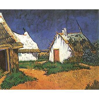 Three White Cottages in Saintes-Maries, Vincent Van Gogh, 33.5 x 41.5 cm
