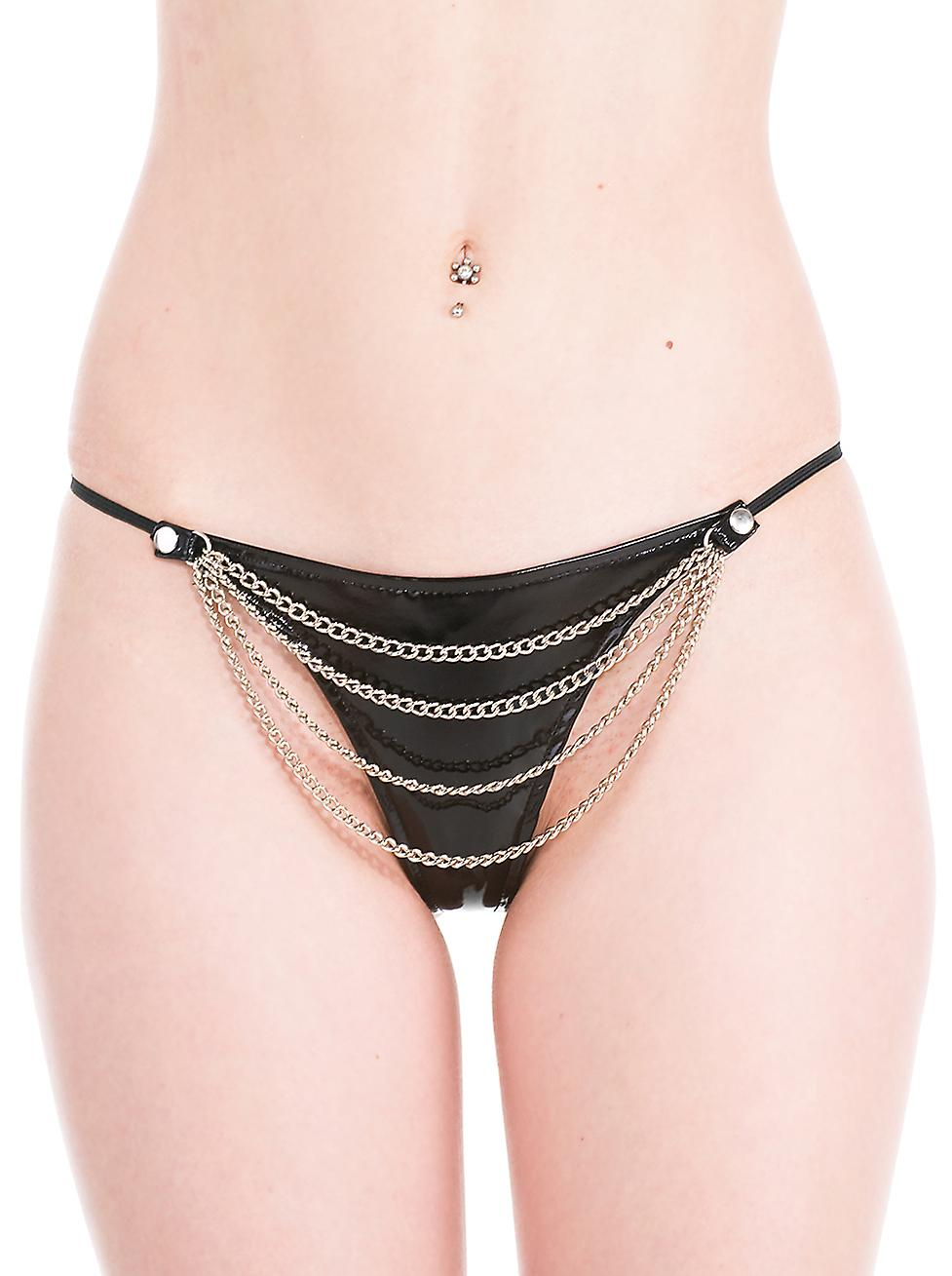 Honour Women's Naughty Thong in PVC Black Rock Chick Sexy Bedroom Lingerie