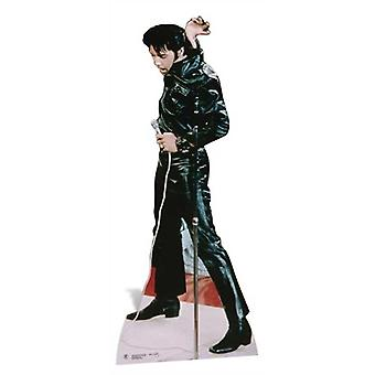 Elvis yllään musta nahka Lifesize pahvi automaattikatkaisin / seisoja