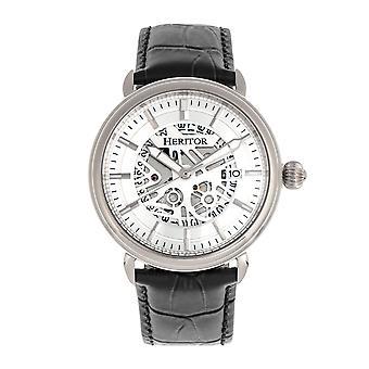 Heritor s automática Mattias-venda de cuero reloj w/fecha - plata