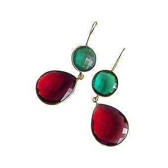 Gemshine örhängen Tourmaline och röda kvarts droppar i 925 silver eller guldpläterad