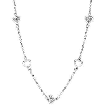 Bella Alternate Heart Link Cubic Zirconia Necklace - Silver