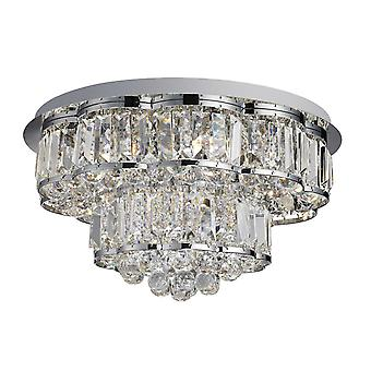 Hayley Chrome, Crystal és Glass hat Light flush szerelés-Searchlight 8376-6CC