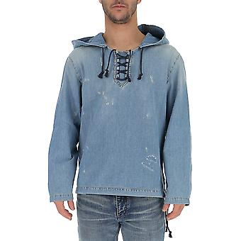 Saint Laurent 551378yq8804161 Men's Light Blue Denim Sweatshirt