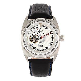 Reign Astro Semi-Skeleton Leather-Band Watch - Silver/Black
