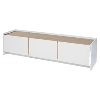 Gillmore Space White And Oak Laminated Contemporary Low Media Sideboard
