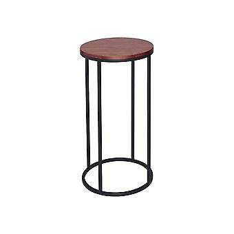 Gillmore Walnut And Black Metal Contemporary Circular Lamp Table