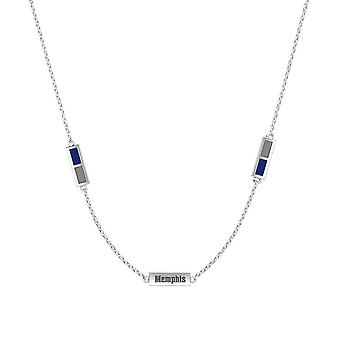 University Of Memphis Sterling Silver Engraved Triple Station Necklace In Blue and Grey