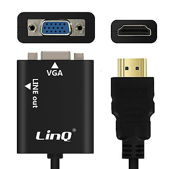Video and Audio Cable Male HDMI to Female VGA + 3.5mm Audio Jack Cable