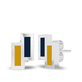 University Of Notre Dame Sterling Silver Asymmetric Enamel Stud Earrings In Blue and Yellow