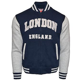 Le170ng london england unisex baseball jacket navy grey