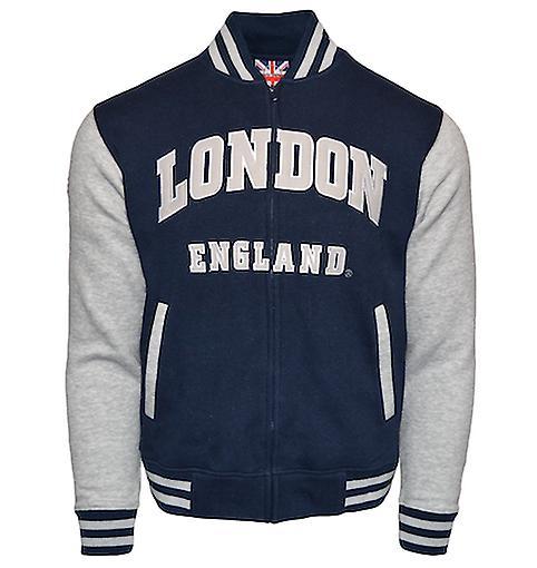 Le170ng london england unisex baseball jacket navy grey