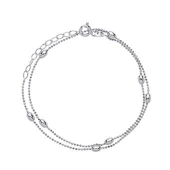 Jewelco London Ladies Rhodium Plated Sterling Silver 3mm Oval Bead Choker Collarette Necklace 1mm 13-14