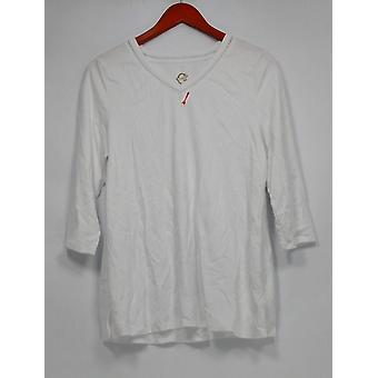 C. Wonder Women's Top Essentials Pima Cotton 3/4 Sleeve White A284181
