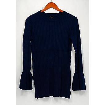 Du Jour Sweater Crew Neck Rib Knit with Bell Sleeve Navy Blue A295382