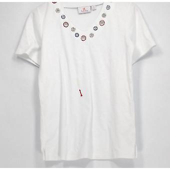 Quacker Factory Top Americana Grommet Short Sleeves White A295788