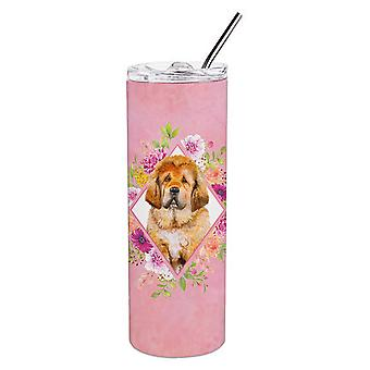 Tibetian Mastiff Puppy Pink Flowers Double Walled Stainless Steel 20 oz Skinny T
