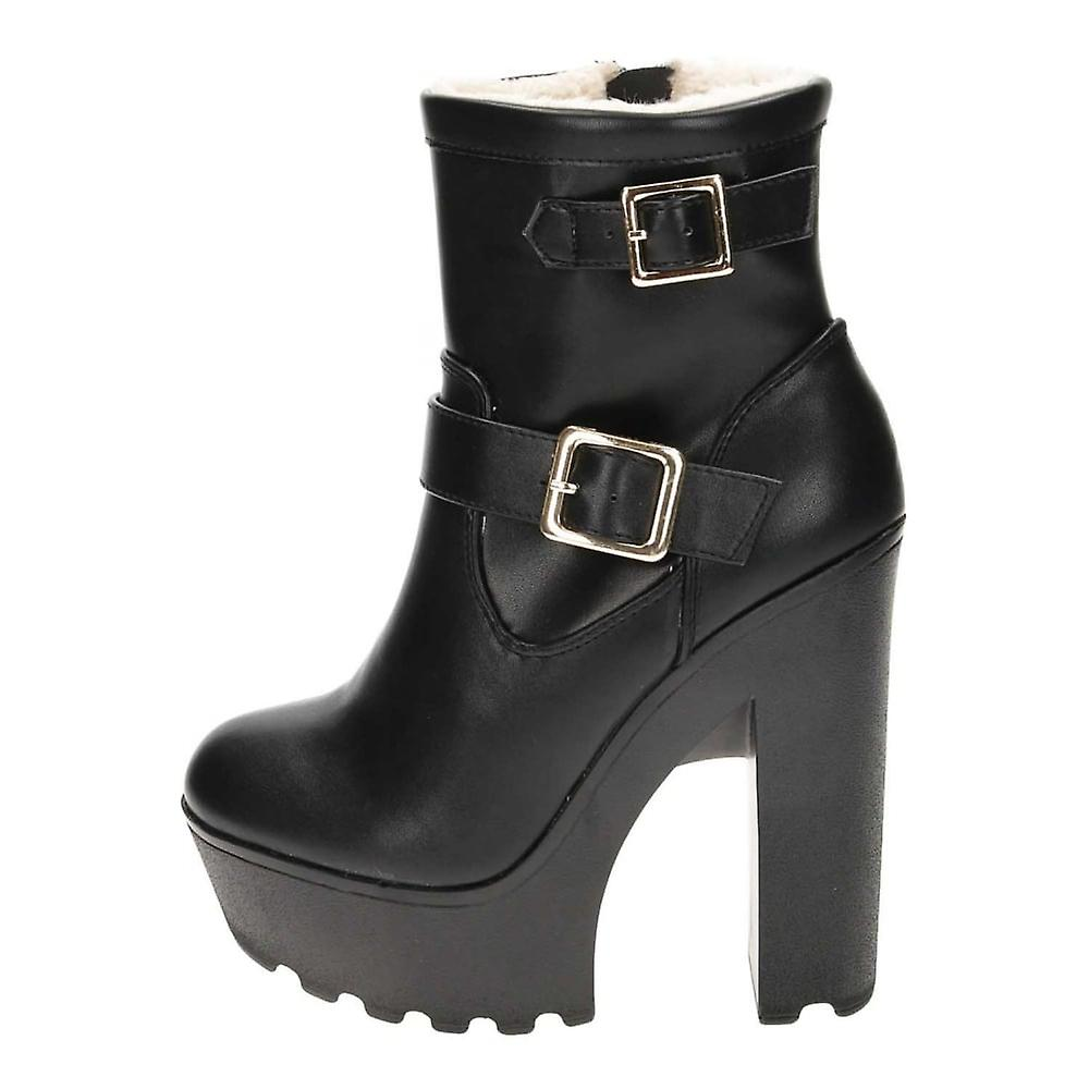 Koi Footwear Black Chunky High Heel Platform Fur Lined Ankle Boots
