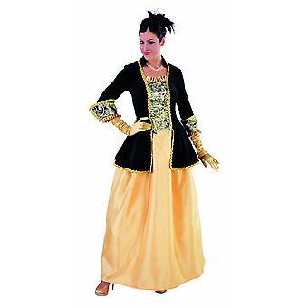 Vrouwen kostuums vrouwen markiezin zwart geel