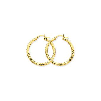 10k Yellow Gold Hollow Polished Hinged post Sparkle-Cut 3mm Round Hoop Earrings - 2.5 Grams