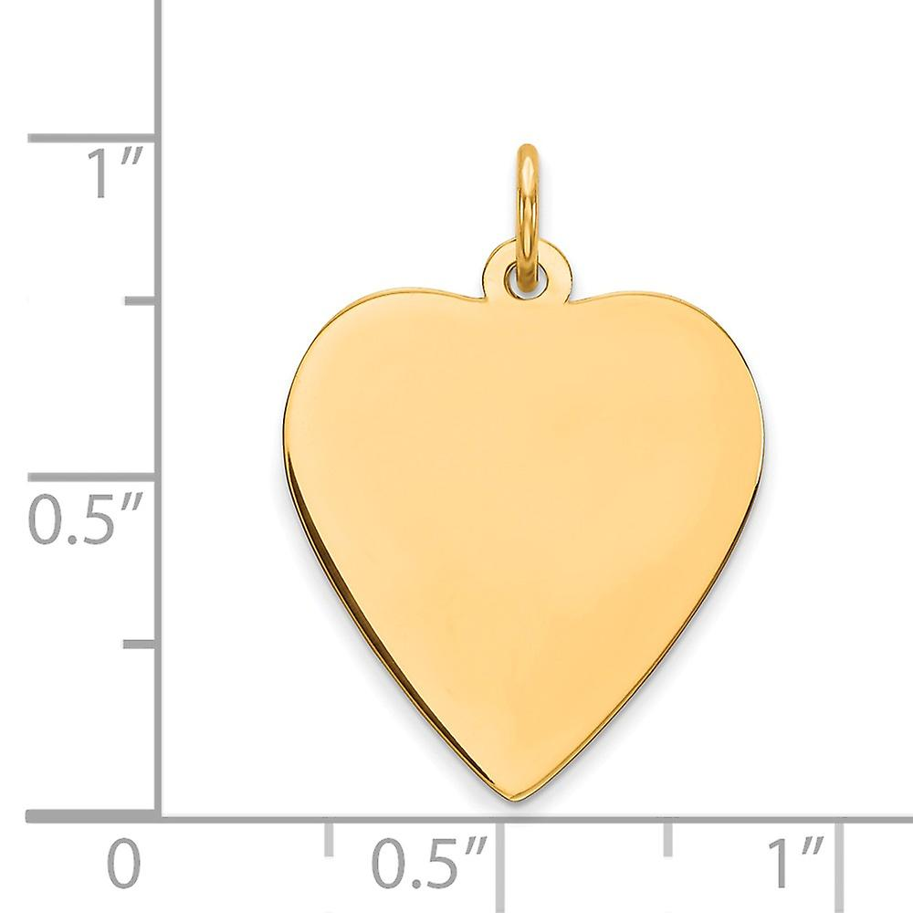 14k Yellow Gold Solid Polished Engravable Plain .035 Gauge Engraveable Love Heart Disc Charm Pendant Necklace Jewelry Gi