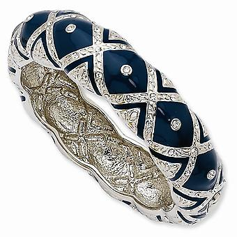 Tonalité argentée Rhodium plaqué Crystal Blue Enameled Cuff Stackable Bangle Bracelet 8 Inch Jewelry Gifts for Women