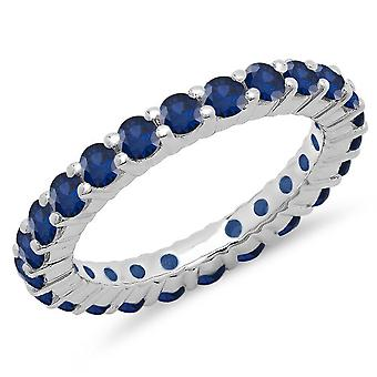 Dazzlingrock Collection 1.00 Carat (ctw) 14K Blue Sapphire Eternity Wedding Stackable Ring Band 1 CT, White Gold