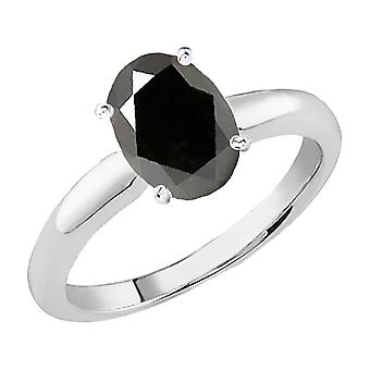 Dazzlingrock Collection 18K 8X6 MM Oval Cut Black Sapphire Ladies Solitaire Bridal Engagement Ring, White Gold