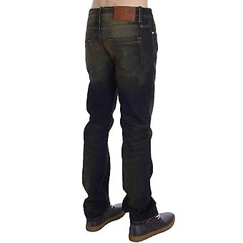 Blue Wash Cotton Regular Straight Fit Jeans -- SIG3681349
