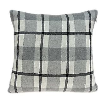 Square Gray and Blue Plaid Accent Pillow Cover