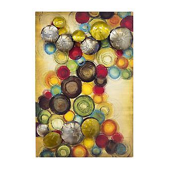 """26"""" X 4"""" X 18"""" Metal metálico Multi Color Panel de pared vertical pequeño con círculos metálicos D"""