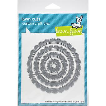Lawn Cuts Custom Craft Die-Stitched Scalloped Circle Frames
