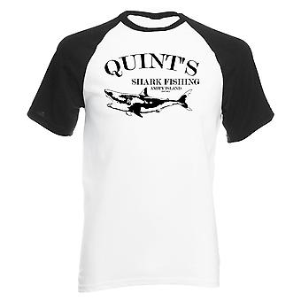 Reality glitch quints shark fishing mens baseball shirt