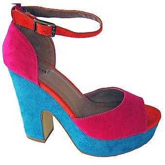 Rascal Lacey Colourblock Platform Heels
