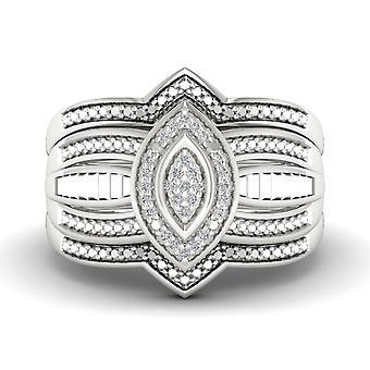 Igi مصدقة s925 الفضة 0.08ct Tdw الماس كتلة مجموعة مجموعة الزفاف مجموعة اثنين من الفرقة