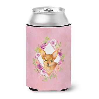 Carolines Treasures  CK4190CC Toy Terrier Pink Flowers Can or Bottle Hugger