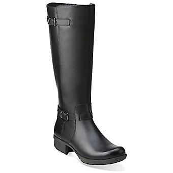 Clarks Womens Riddle Away Couro Amêndoa joelho botas de equitação alta