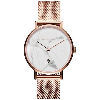 Meller Astar Roos Marble Japanese Quartz Analog Women Watch with W1RM-2ROSE Gold Plated Stainless Steel Bracelet