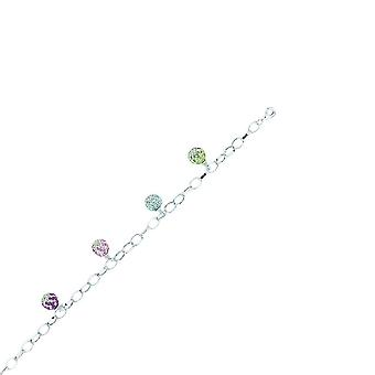 925 Sterling Silver Rhodium Plated Multi Color Dangle 4 Crystal Ball Bracelet 7.50 Inch Jewelry Gifts for Women