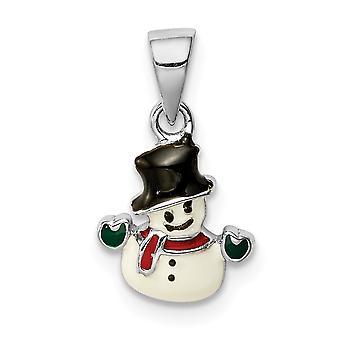 925 Sterling Silver Rhodium pokovené pro chlapce nebo dívky Smaltovaný sněhulák přívěsek náhrdelník - .8 Gramů