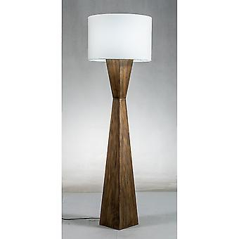 Modern Home Espresso Geometric Wood Floor Lamp w/Natural Jute Shade