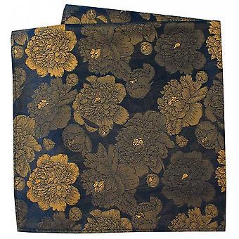 David Van Hagen Stora blommor Silk Pocket Square - Navy / Guld