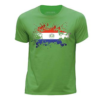 STUFF4 Мальчика круглый шею Т-маечка/Парагвай флаг Splat/зеленый