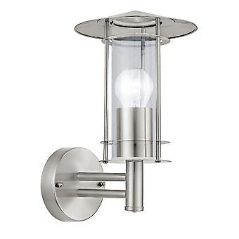 Eglo Lisio - 1 Lichte Buitenmuur lantaarn roestvrij stalen IP44 - EG30184