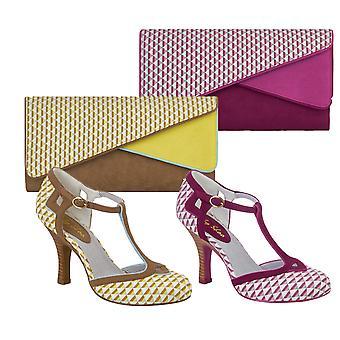 Ruby Shoo UK 8 EU 41 Pink Hatty Fabric T-Bar Pumps & Sydney Bag
