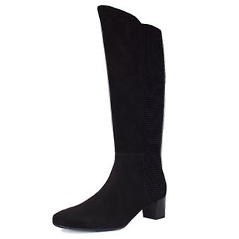 Peter Kaiser Olara Pull On Stretch Suede Knee High Boots In Black Nico