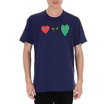 Comme Des Garçons Play P1t1861 Men's Blue Cotton T-shirt